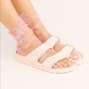 free people pink glitter star socks